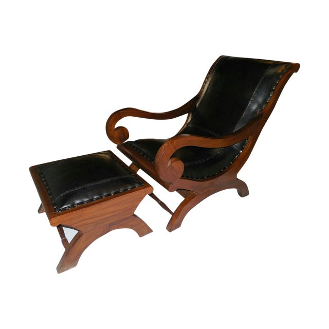 Mahogany And Leather Campeche Chair With Ottoman Chairish