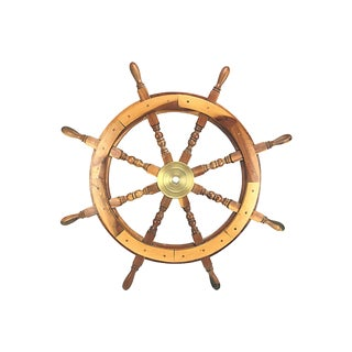 Walnut & Brass Ship's Wheel