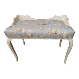 Vintage Shabby Chic French Style Vanity Bench