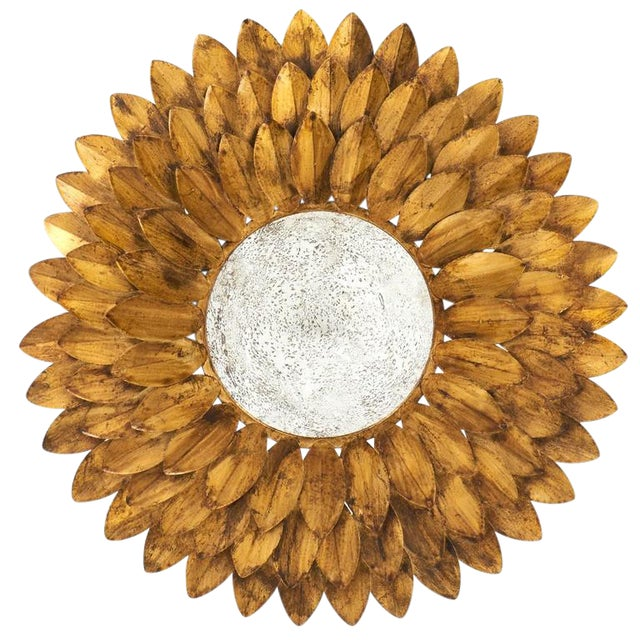 French Vintage Gilt Metal Sunflower Mirror - Image 1 of 8