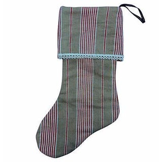 Antique French Ticking Christmas Stocking