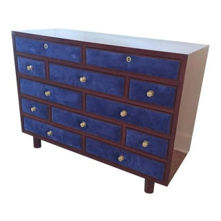 Maison Jansen Chest of Drawers with Blue Suede and Gold-Plated Pulls