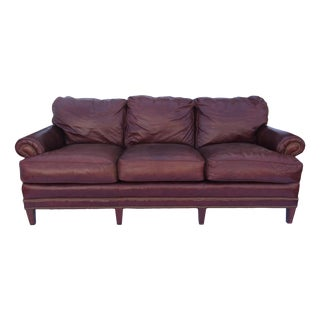 Pearson Chestnut Leather Sofa with Brass Nailhead Trim