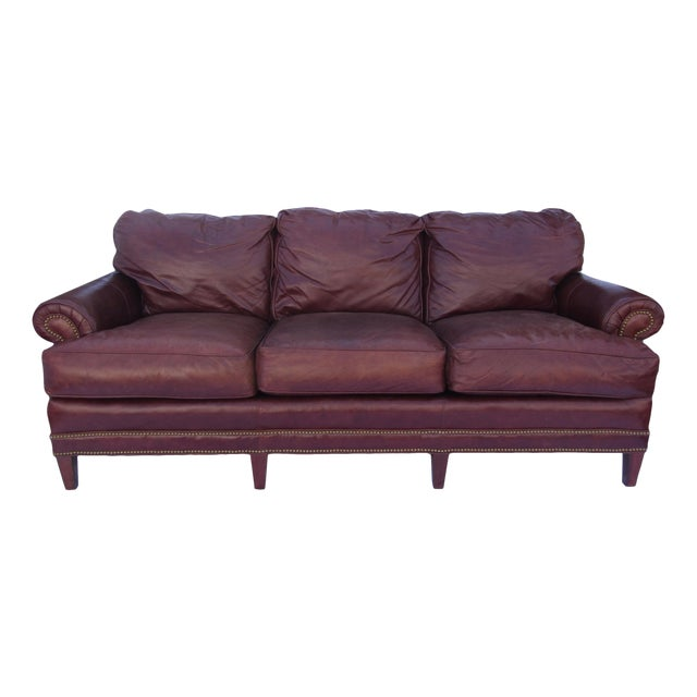Pearson Chestnut Leather Sofa with Brass Nailhead Trim - Image 1 of 8