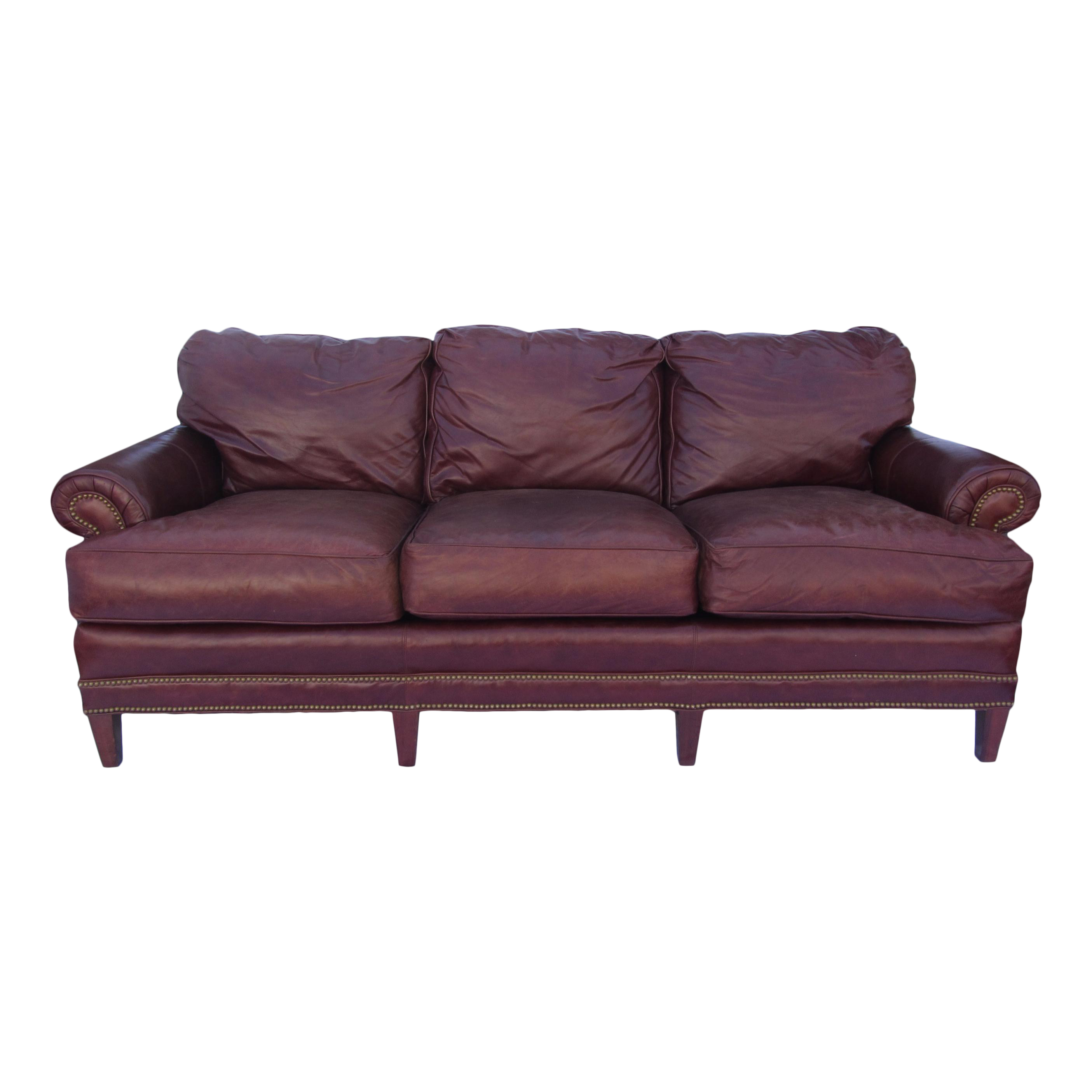 Lovely Pearson Chestnut Leather Sofa With Brass Nailhead Trim