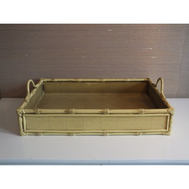 Image of Vintage Pale Yellow Bamboo & Wood Tray