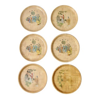 Vintage Chinese Bamboo Painted Plates - Set of 6