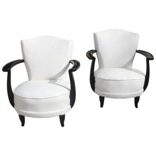 French Art Deco Curved Ebony Club Chairs - A Pair