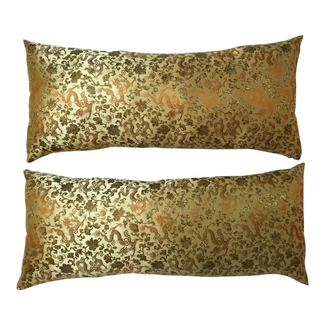Chinese Silk Pillows - A Pair - Image 1 of 12