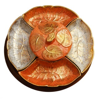 Vintage Lazy Susan with Golden Ceramic Leaf Dishes