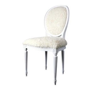 French Louis XVI Side Chair in Faux Fur