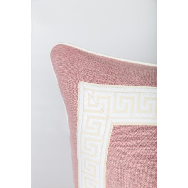 Pink Linen & Ivory Greek Key Pillows - A Pair - Image 2 of 5