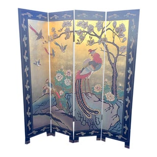 Vintage Chinese Folding Screen Gold Leaf Coromandel Chinoiserie Peacocks