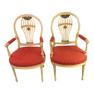 Hollywood Regency Balloon Back Painted Arm Chairs - A Pair
