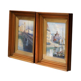 Pair of Early 20th Century English Signed, Dated, and Framed Watercolors Scenes