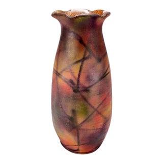Mid-Century European Multi-Color Ceramic Ruffled Neck Vase