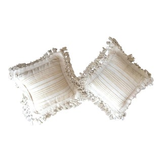 White Fringed Woven Pillows - A Pair