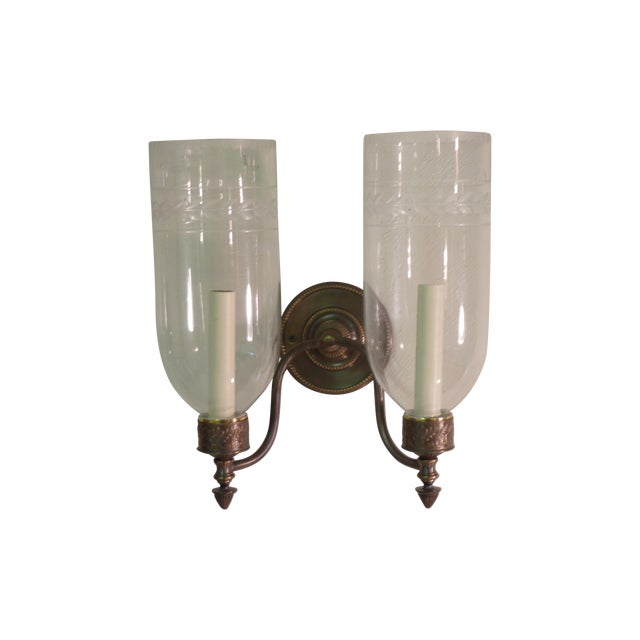 Sconces With Glass Shades - A Pair - Image 1 of 4
