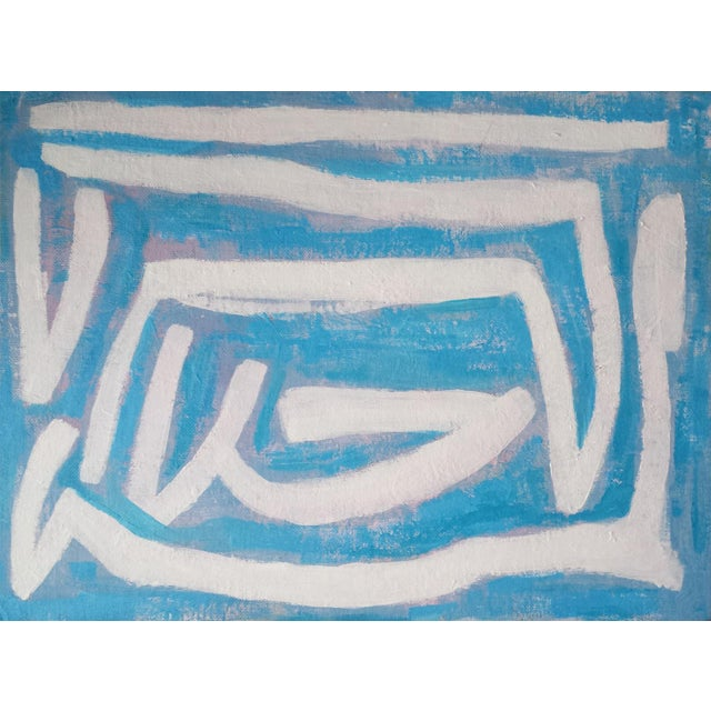 """Susie Kate """"Abstract on Blue"""" Original Painting - Image 3 of 4"""