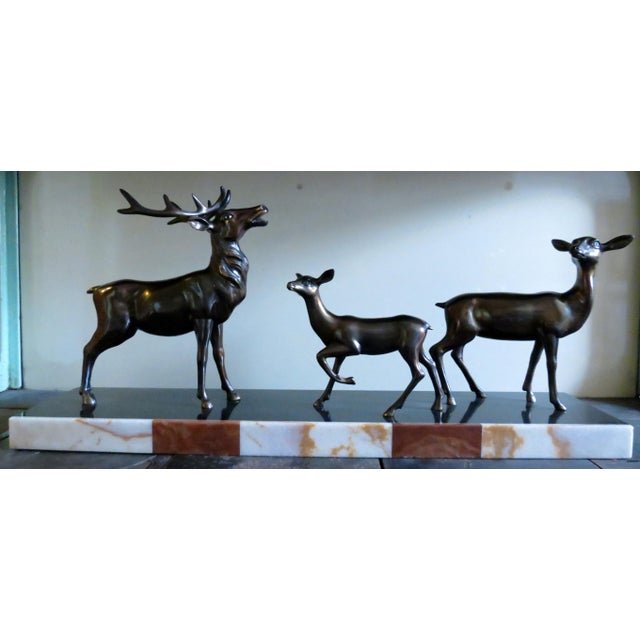 Charles Ruchot 1900s Bronze Deer Family Sculpture - Image 2 of 5