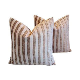 Custom Tailored French Velvet Striped Feather/Down Pillows - a Pair