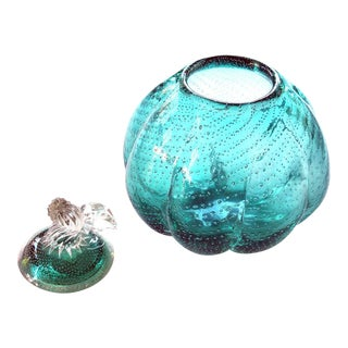 Whimsical Murano 1950s Teal Art Glass Gourd with Lid
