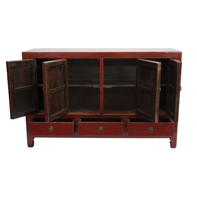 Image of Antique Gansu Red Chinese Elm Wood Cabinet