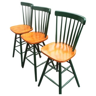Swivel Green Wood Bar Stools - Set of 3