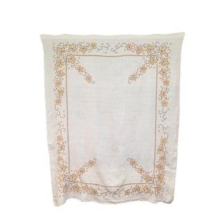 Vintage Brown & Orange Embroidered Tablecloth