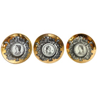 Fornasetti Gilt Roman Coin Coasters - Set of 3