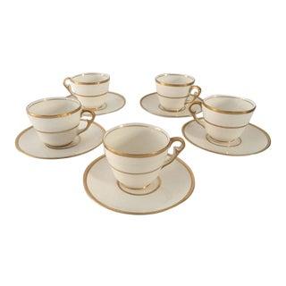 Vintage Demitasse Gold & Ivory Cups and Saucers - Set of 5