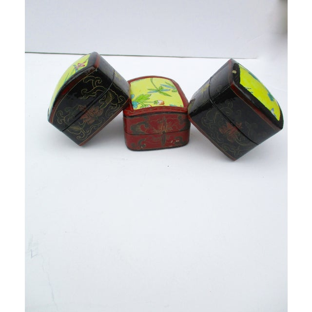 Asian Lacquer Porcelain Boxes - Set of 3 - Image 6 of 10