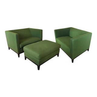 Christian Liaigre Inspired Club Chairs and Ottoman - 3 Piece Set