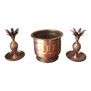 Brass Pineapple Trio of Planter and Candleholders - Set of 3
