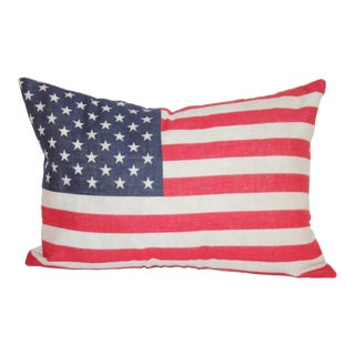 50 Star Flag Linen Pillow W/White Linen Backing