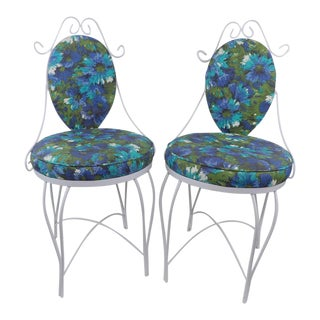 Mid-Century Modern Wrought Iron Patio Chairs - A Pair