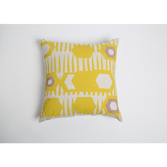 Erin Flett Bold Graphic Linen Pillow in Goldenrod - Image 3 of 3