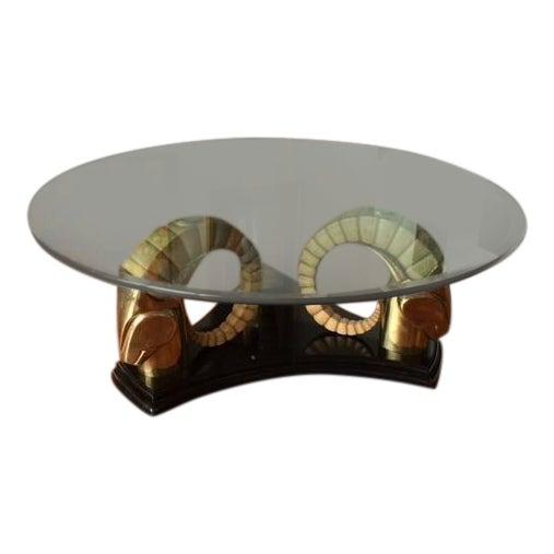 Neo Deco Brass Ram's Head Coffee Table