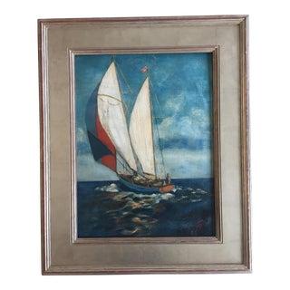 Mid-Century Modernist Original Sail Boat Painting