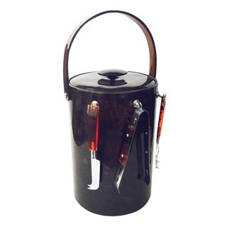 Georges Briard Tortoiseshell Ice Bucket with Tools