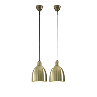 Pair of Brass 1950s Pendants with Mirrored Diffuser, Austria