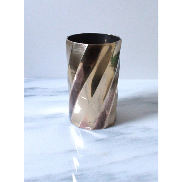 Image of Solid Brass Cylinder Vase With Twist Design