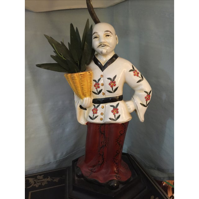 Image of Chinoiserie Porcelain Figure Lamp