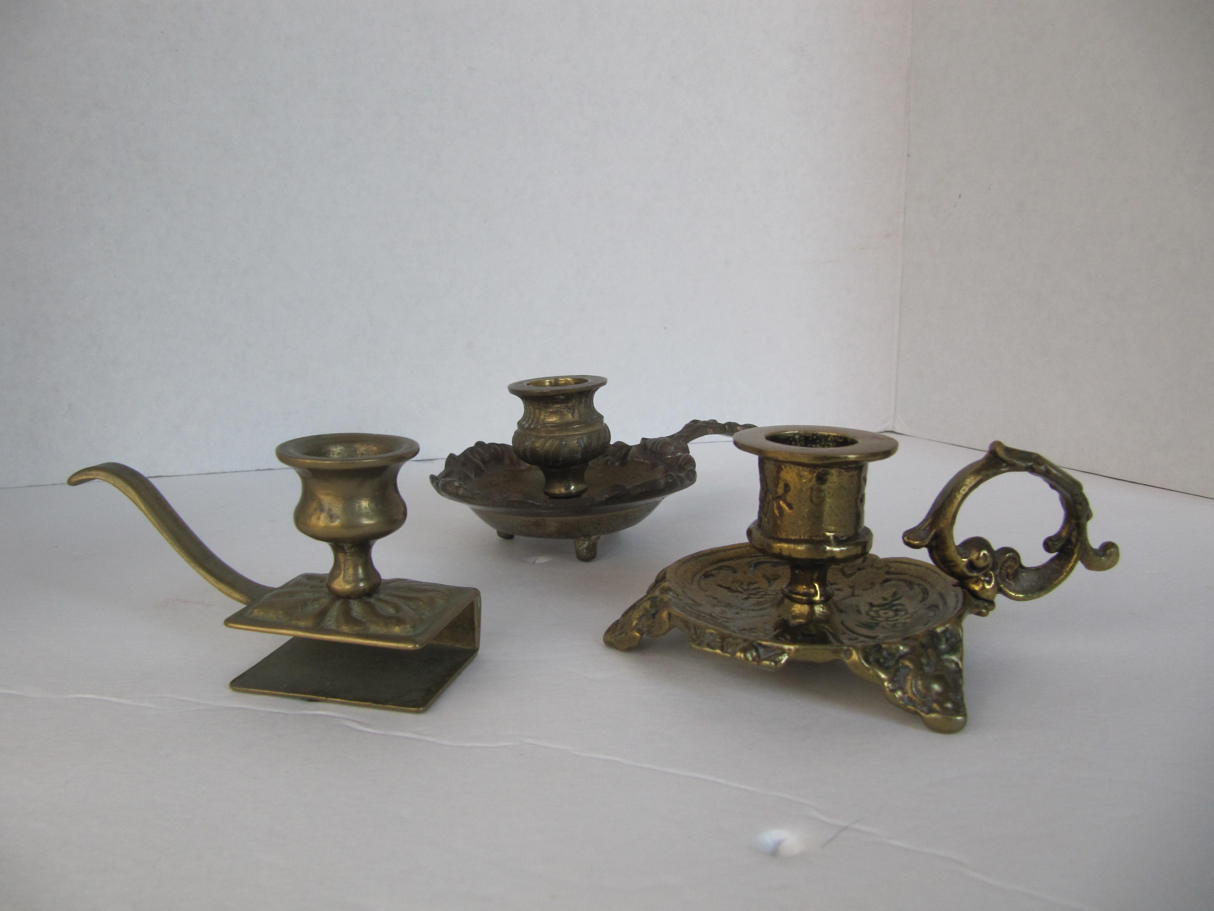 vintage brass candle holders set of 3 image 4 of 7