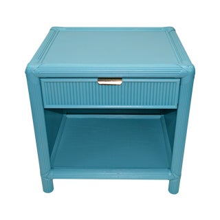 Blue-Green Rattan Nightstand