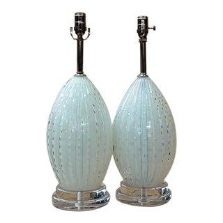 Creamy White Opaline Murano Lamps by Barbini