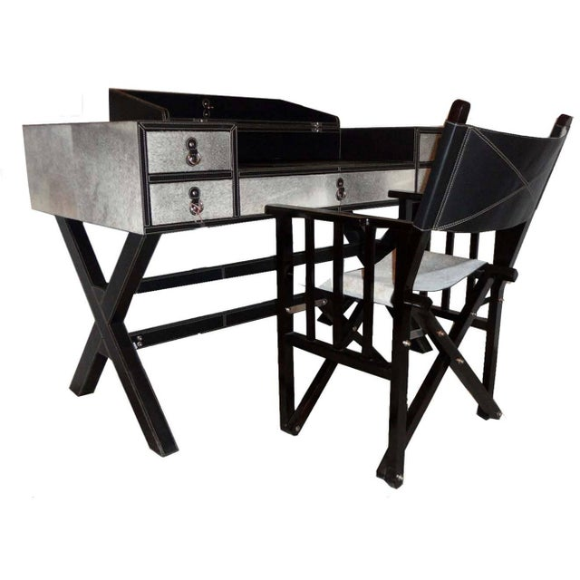 Image of Black & White Hair on Leather Writing Desk