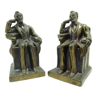 Vintage Abraham Lincoln Seated Bronze Bookends - A Pair