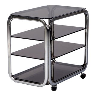 Mid-Century Polished Chrome and Smoked Glass Trolley on Casters