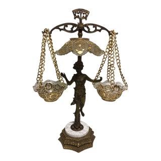 Hollywood Regency Gold Goofus Glass Figural Scale